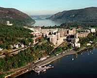 Ariel panorama of campus on Hudson River