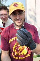 Guy with cooking glove in BC colors