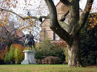 statue of rider on horse on campus lawn