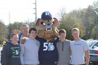 4 young future Bulldogs pose with the Larger than life mascot