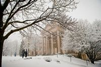 Colgate's chapel and campus in the snow