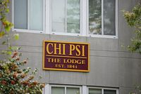 Chi Psi sign on Lodge