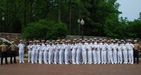 Duke naval rotc in whites posing in formation