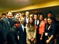 Throung of Duke students with Mitt Romney