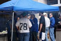 Duke tailgaters dressed in blue on a cool day