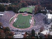 an aerial view of Wade stadium from the closed end of the horse shou