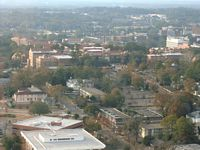 a hazy aerial view of campus