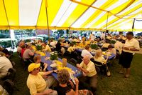 Old timers tailgate at a catered tailgate tent all in yellow.