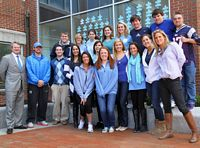 A group of HC students pose while working for Speak for Autism projects.