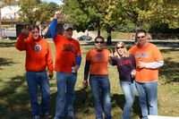 5 Chicago area alums are back for a game decked out in orange and blue sweatshirts.