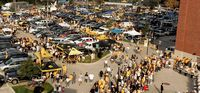An aerial shot of more Iowa tailgaters.