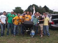 15 fraternity brothers have a tailgate party before the Minnesota game.