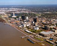This is an aerial view of Baton Rouge with LSU in the distance and the mighty Mississippi River slowly moving away from you to the south.