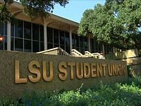 A sign on a low building reads LSU student union.