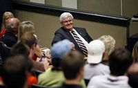 Newt Gingrich is pictured chatting with students.