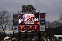 The scoreboard shows that Lafayettes beats Lehigh and wins the Patriot League championship again.