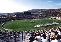 The stadium with mountains in the background is what college footbll should look likme,