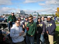 A bunch of A G R brothers tailgate south of the stadium