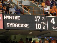 The scoreboard reads Maine 17 and Syracuse 10.