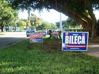 Election day brings out yard signs these are for Republican Marco Rubio.