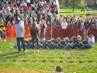 Here is a girls team in a tug of war.