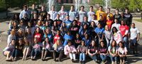 This is a huge group shot of student leaders all wearing their fraternity sweatshirts.