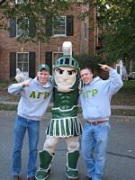 2 AGRs pose with Sparty.