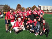 Theta Chi team pictured here has won their IM football game.
