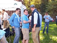 FrTERNITY UNDERGRADS HAVE A QUIET TAILGATE PARTY.