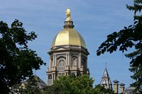 Here is a ground up view of the golden dome against a pretty blue sky.