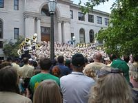 The band plays a pre-game concert on the steps to the administration building.
