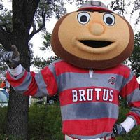 Brutus the mascot out and about