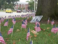 The College Republicans put out flags and a sign that commerates nine eleven and says we'll never forget.