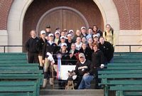 Pictured on steps are the Purdue womens equestrian team.  There are almost 30 in the photo taken after a big competitive win.