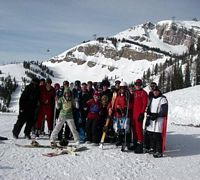 The Purdue ski club is pictured here on a slope of a Colorado mountain.