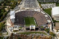 This is an aerial view of Ross Ade Stadium from the south.  On the left is the press box and the stands are packed full of fans.