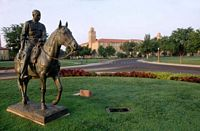 Will Rigers and Soap Suds, his horse, are memorialized with this statue.