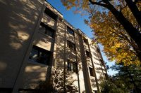 This Residence Hall is tall and white limestone shrouded in fall trees against another blue sky.